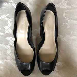 NWOT Calvin Klein Black Wedge Heels